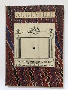 Antiquarian Cloth Map Sifton Praed No 8 Abbeville  France Marble Military London