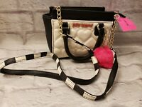 Betsey Johnson Mini Satchel Purse Cream Pink Pom Top Handle Long Strap NWT $78
