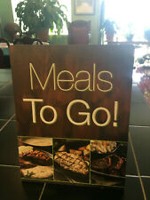 """Lot, Take Out Counter Stand-Up Sign """"Meals To Go"""" & 3 Acrylic Table Sign Holders"""