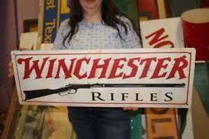 """Large Vintage Winchester Rifles Hunting Gun Store Gas Oil 44"""" Metal Sign"""