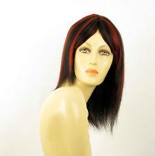 perruque femme 100% cheveux naturel long méchée noir/rouge TATIANA 1b410