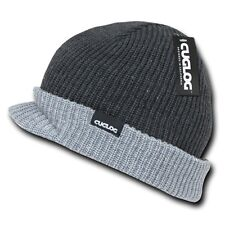 Charcoal & Heather Gray Visor Jeep Warm Winter Ski Beanie Beanies Cap Hat Hats