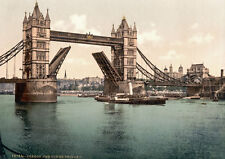"PS15 Vintage 1890's Photochrom Photo - Tower Bridge London - Print A3 17""x12"""