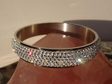 """Steel By Design """"Pave Faceted Crystal"""" Bangle Bracelet - Gorgeous!"""