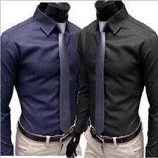 Herren T-Shirt Shirt Langarm Casual Streifen Hemd Business Slim Tops Hochzeit