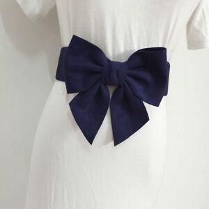 Women Faux Leather Suede Waist Belt Wide Waistband Corset Bowknot Dress Decor