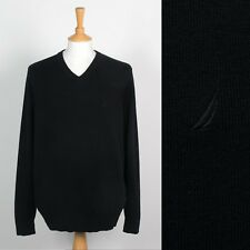 MENS NAUTICA JUMPER BLACK KNITTED KNIT V-NECK SWEATER PREPPY SAILING XL