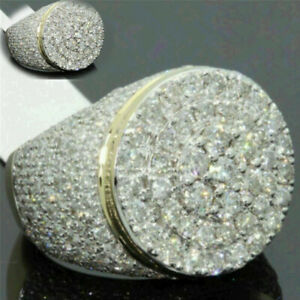 Ring Iced Diamond Men's Simulated  Fashion Lab  Pinky Band Cluster 18k Gold Out