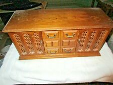 "vintage London Leather Jewelry Cabinet Box with 8 Drawers & 2 Doors 18""x8""x7"""