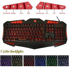 Professional 7 Adjustable LED Colorful Backlights USB Gaming Mechanical Keyboard