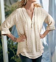 Size PL Soft Surroundings Sequin Cardigan Sweater Kimono Jacket Top NWT P Large