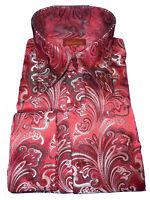 Mens Sangi Rome Collection 2005 Red Magnifique Paisley Ultra High Collar Shirt