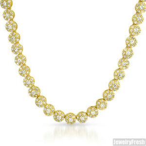 18k Gold Finish Iced Out Mens CZ Cluster Chain