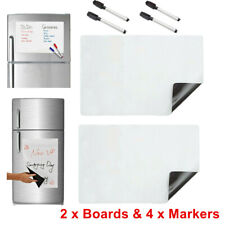 2 x Dry Erase Magnetic Refrigerator Flexible Blank White Board Message+4 Markers