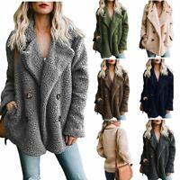 Women's Long Sleeve Plush Sweater Coats Ladies Work Jackets Outwear Cardigan