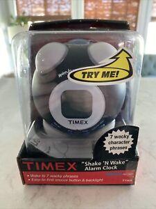 TIMEX Wacky Phrases Shake 'N Wake Alarm Fun Talking Clock (T156B) Black New