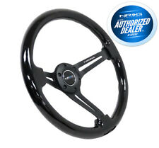 "NRG Steering Wheel Black Wood Grain Black Spokes 350mm 3"" Deep RST-018BK-BK"