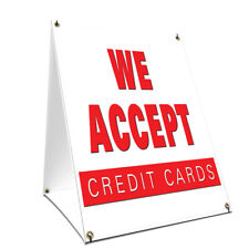 A-frame Sidewalk Sign We Accept Credit Cards Double Sided Graphics