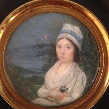 Miniature XVIIIeme Portrait Femme coiffée d'une charlotte vers 1789-1790 18eme