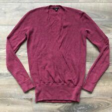 Women's Ann Taylor LOFT Red Maroon Wine Deep V-Neck Knit Sweater Size XS X-Small
