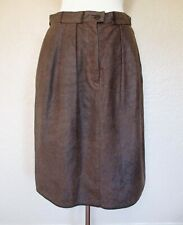 Vintage Giorgio Armani Leather Skirt M/L Women brown reptile embossed leather