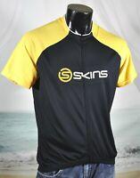 SKINS Pro Short Sleeve Full-Zip Cycling Jersey XXL Black Yellow 100% Polyester