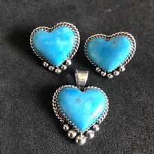 Turquoise Heart Set Pendant Earring Post Sterling Silver Navajo Avin Joe 300