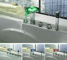 Deck Mounted Waterfall Faucet Chrome Finish Contemporary Style Trple Handle Taps