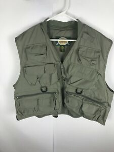 Cabela's Safari Vest Beige Size XL Green Vented Hunting Fishing Photography
