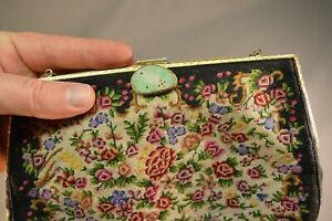 Antique Chinese Jade Green & White Export Clutch Hand Bag Purse Hand Embroidered