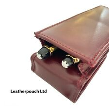 More details for burgundy leather double magnetic pen case pouch. real leather hand made