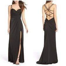 NEW LA FEMME Black Ruched Bodice Strappy Sexy Open Back-less Slit Dress Gown 6