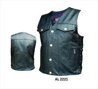 High Pocket Denim-Style Black Analine Leather Biker Motorcycle Vest Side Lace