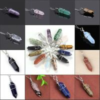 1x Silver Plated Gemstone Hexagon Winding Healing Point Chakra Pendant Necklace