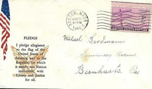 WW Two Patriotic Cover The Pledge to the Flag PM Oak Park IL July 28 1944