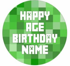 Mine craft Inspired Personalised Edible Icing Cake Topper or Ribbon