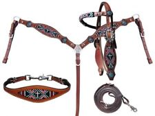 4 PC Red Black Cross Navajo Beaded Leather Wither Strap Headstall Breast Collar