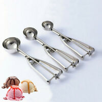 3PCS/Set Ice Cream Spoon Stainless Steel Spring Handle Masher Cookie Scoop Sale