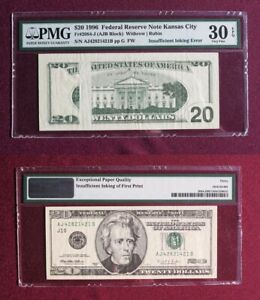 1996 $20 FEDERAL RESERVE ♚INSUFFICIENT INKING ERROR♚ NOTE PMG 30 VERY FINE EPQ