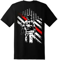 Firefighter Flag Patriotic American T Shirt  New Graphic Tee (Back Printed)