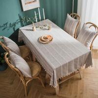 Plaid Tablecloth Tassel Rectangle Table Cover Cotton Linen Tea Dining Home Decor