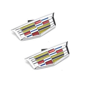 2 OEM Front Passenger Side Fender Fit Cadillac Color Chrome Emblem 16-19 XT5 CT6