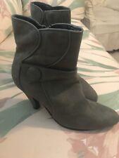 Womens 7 zip Suede Boots Bootie Ankle Gray Heels