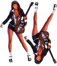 SET ADESIVI RAGAZZA PIN UP E CHITARRA 16X8CM Rock Star Babe decalcomania MUSICA