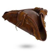 High Quality Brown Leather Pirate Tricorn Hat. Pirates Caribbean Costume & LARP