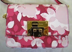 Michael Kors Tina Floral Granita Pink Leather XSmall Clutch Crossbody Bag