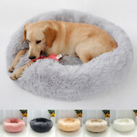 Soft Large Dogs Beds Long Plush Dog Sleep Cushion Round Fleece Kennel Nest XS-XL