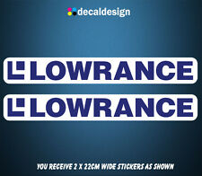LOWRANCE Decals x 2 - 215mm Wide - Premium Quality Printed Boat Stickers