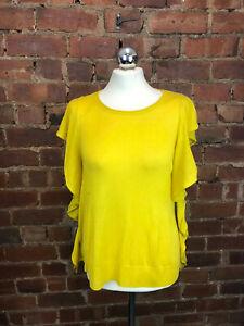 ZARA Knit Mustard Fine Knit Short Frill Sleeve Jumper Size M BNWT Summer Casual