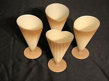 Waffle Cone Glass Parfait Dessert Cups Textured made in Italy set of 4